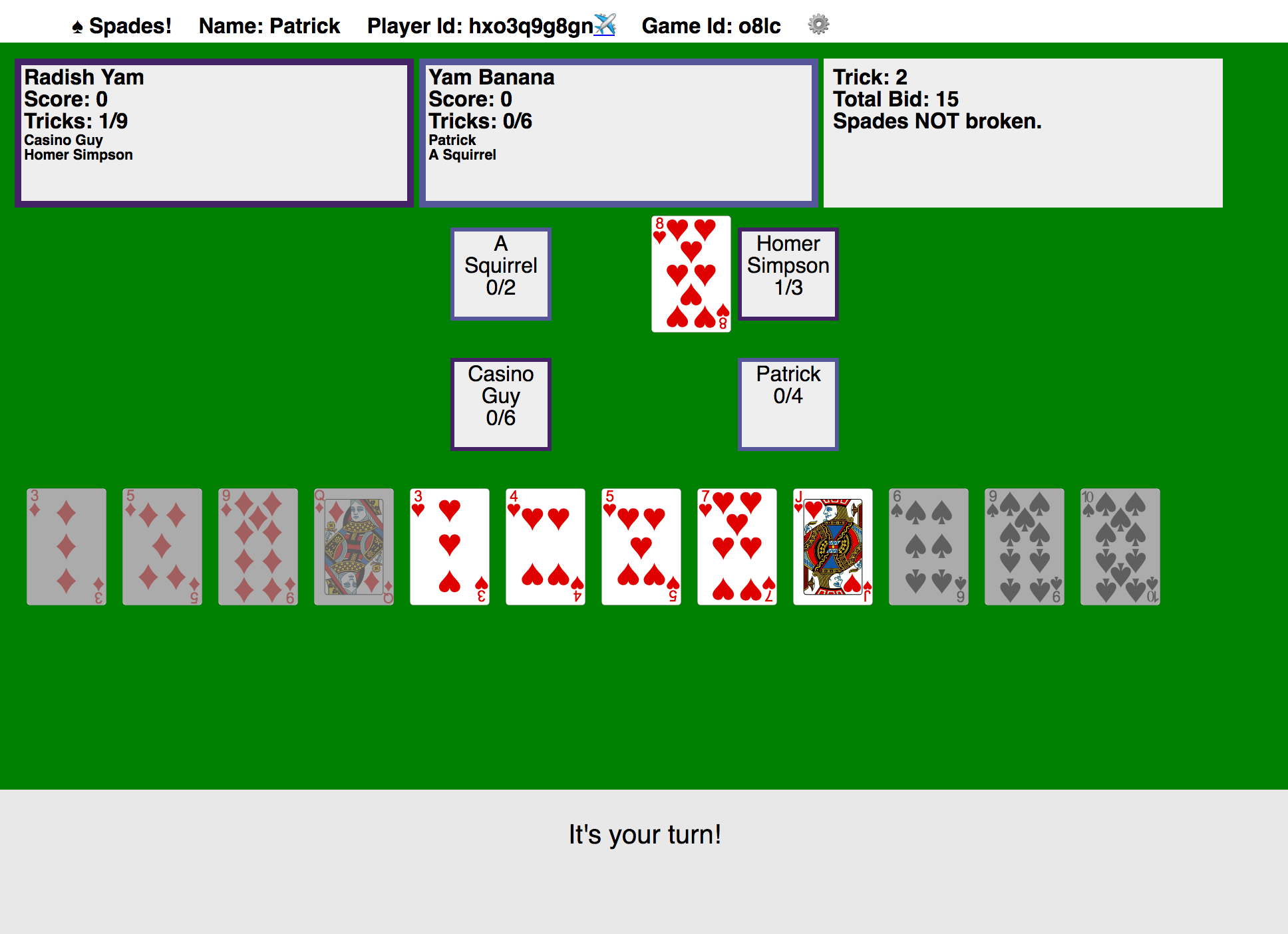 A screenshot of a prototype interface for the game